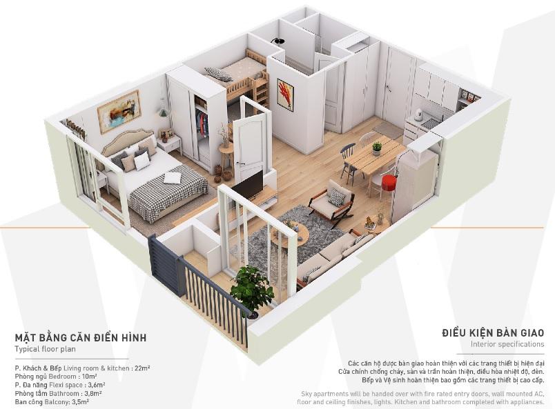 Mẫu thiết kế căn hộ diện tích nhỏ chỉ 45m2 với đầy đủ công năng và tiện nghi hiện đại của dự án West Bay