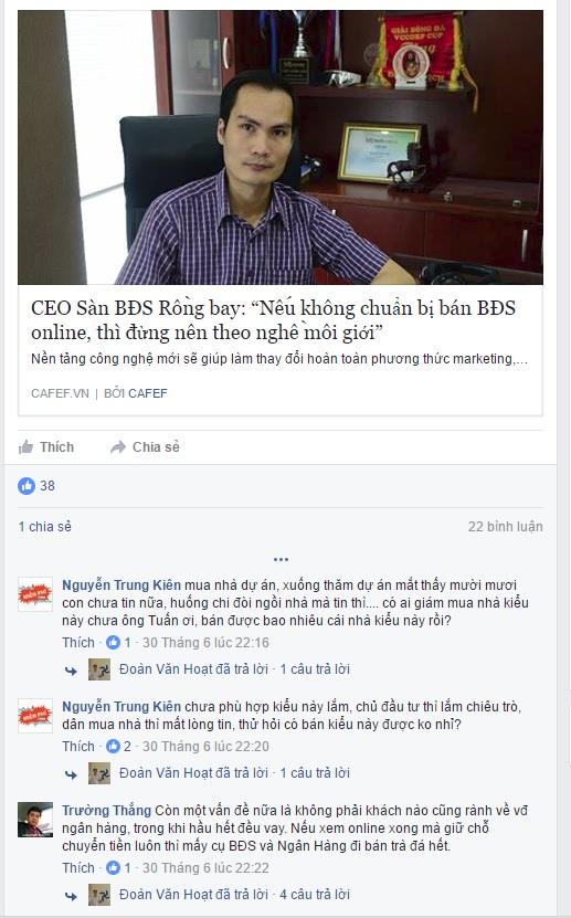 Câu chuyện giao dịch BĐS online lan tỏa trên mạng xã hội, thu hút được nhiều ý kiến từ dân môi giới BĐS