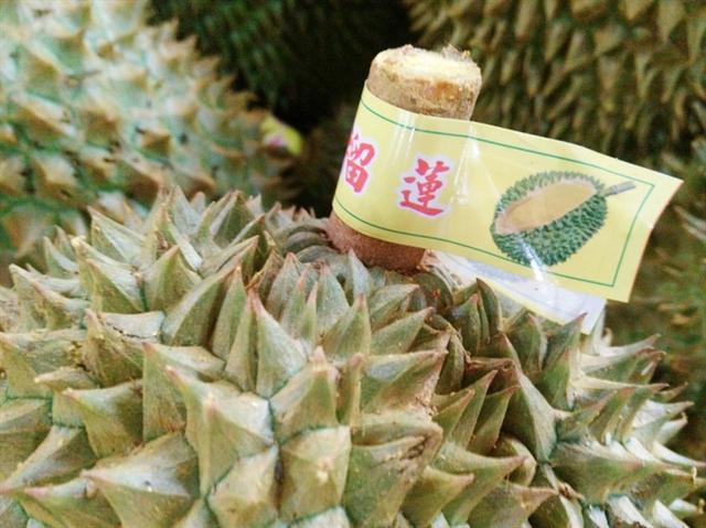 Sầu riêng Đồng Nai được gắn nhãn mác chữ Trung Quốc