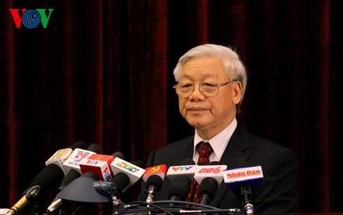 Tổng Bí thư Nguyễn Phú Trọng phát biểu tại hội nghị Trung ương lần thứ 11