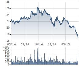 Biến động giá cổ phiếu HAG trong 1 năm