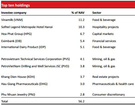 10 khoản đầu tư lớn nhất của VOF tại thời điểm 31/5/2015
