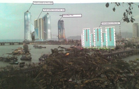 Phối cảnh Công trình Mường Thành Khánh Hòa và tổ hợp vườn treo, khách sạn Phoenix (Tập đoàn Dewan) nhìn từ Tháp Bà Ponagar