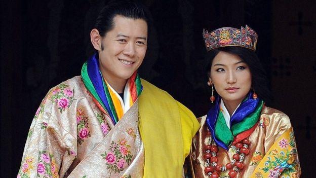 Quốc vương và hoàng hậu Bhutan.