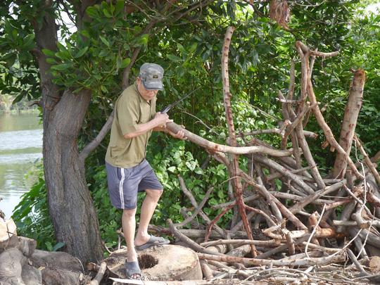 Ông Hoà, một người dân sinh sống trên đường Nguyễn Văn Lượng thường hay thu gom củi khô trong công viên để mang về sử dụng.