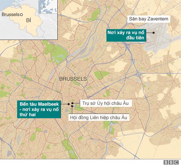 Bản đồ nơi xảy ra các vụ nổ ở Brussels. Nguồn BBC
