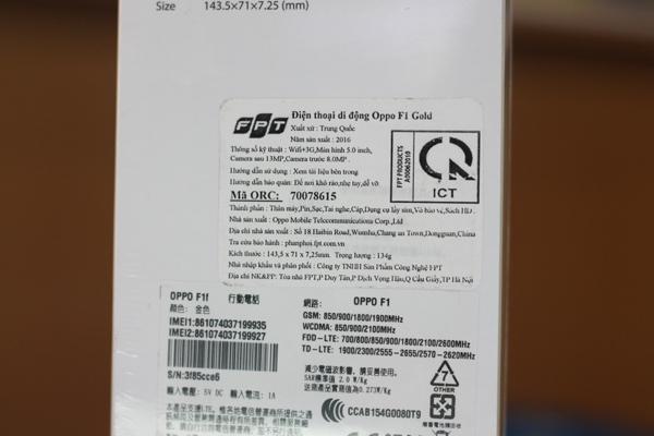 Chiếc Oppo F1 do Công ty TNHH Sản phẩm công nghệ FPT phân phối - Ảnh: Hải Đăng