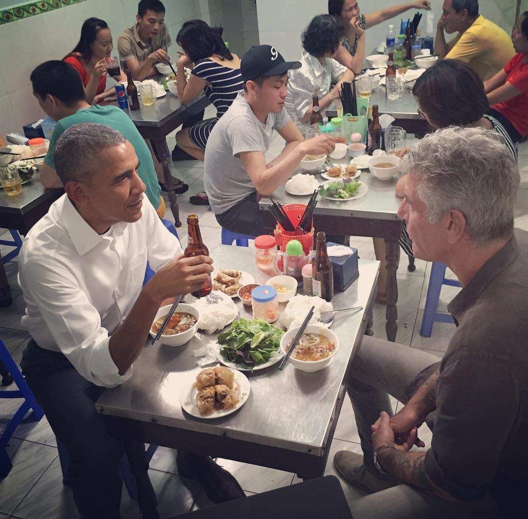 Bữa tối của ông Obama. Ảnh: Instagram của đầu bếp Anthony Bourdain