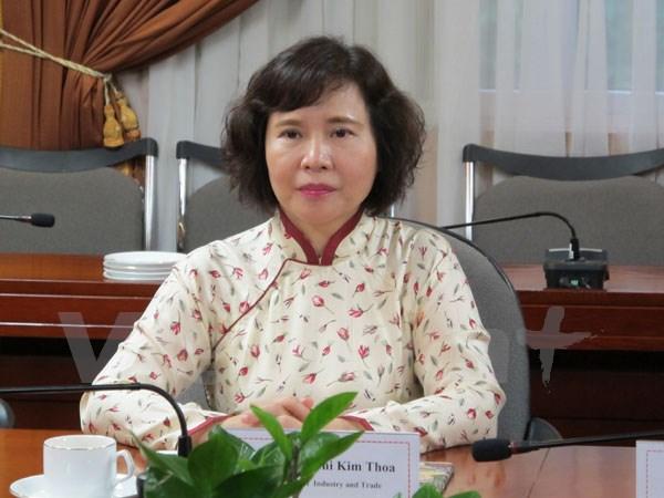 Thứ trưởng Bộ Công Thương Hồ Thị Kim Thoa (Ảnh: Đức Duy/Vietnam+)