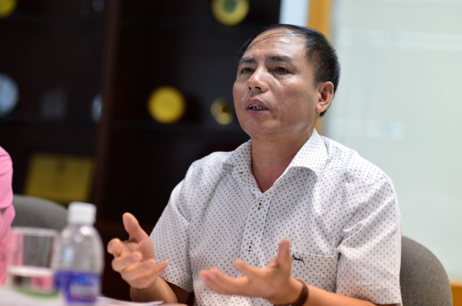 Ông Hồ Quang Thái - phó chánh văn phòng Ban chỉ đạo 389 Quốc gia phát biểu trong buổi tọa đàm Phân bón giả - tác hại thật sáng 15-6 tại tòa soạn báo Tuổi Trẻ - Ảnh: QUANG ĐỊNH