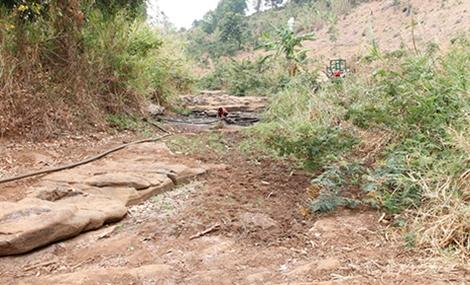 Sông suối cạn trơ đáy, người dân phải chắt chiu từng vũng nước còn sót lại để cứu cây trồng.