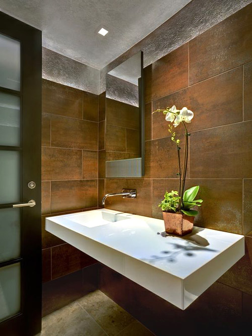 Một chậu lan nhỏ rất hợp để trưng bày trong phòng tắm