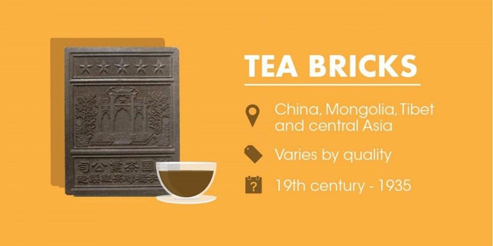 Gạch trà - một khối lá chè đất được đóng gói vào khuôn và ép - đã được sử dụng như tiền tệ tại Trung Quốc, Mông Cổ, Tây Tạng và Trung Á từ thế kỷ 19 đến năm 1935. Đặc biệt, giá trị của loại tiền này tùy thuộc vào chất lượng của lá chè.