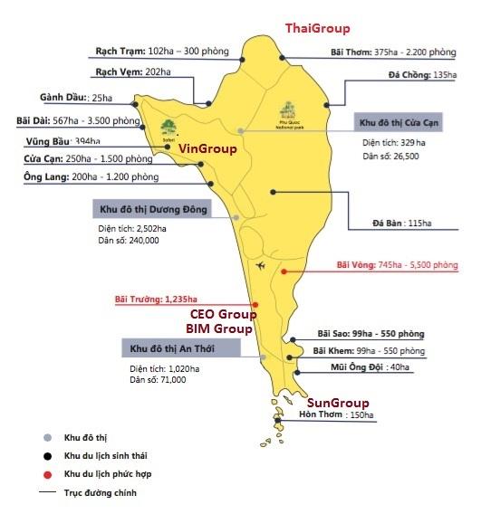 Quy hoạch các khu nghỉ dưỡng, khách sạn ở đảo Phú Quốc
