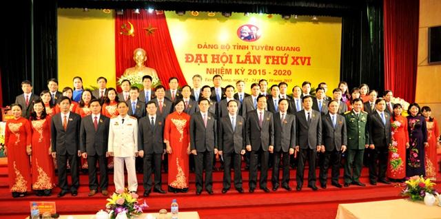 BCH Đảng bộ tỉnh khóa XVI, nhiệm kỳ 2015-2020 gồm 51 đồng chí. Ảnh: Báo Tuyên Quang