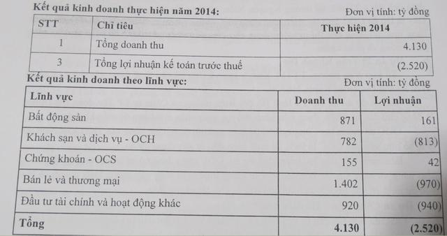 Cơ cấu doanh thu, Lợi nhuận/lỗ của OGC năm 2014