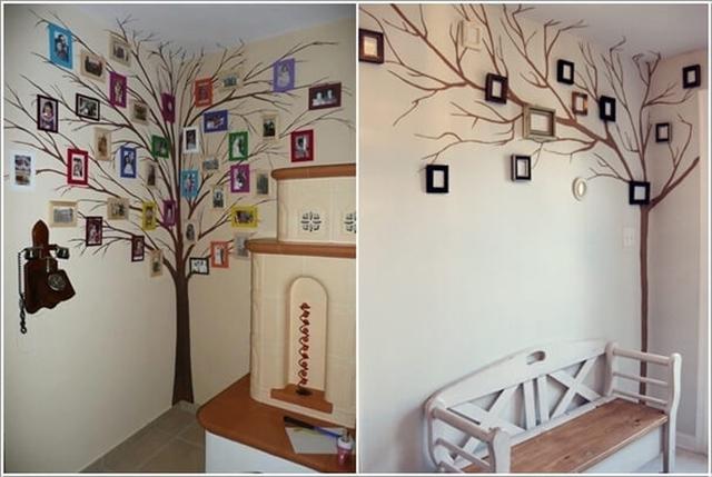 Bạn cũng có thể biến góc tường khô cứng trong nhà trở nên lôi cuốn bằng cách vẽ một cái cây thật to ở góc trường trống.