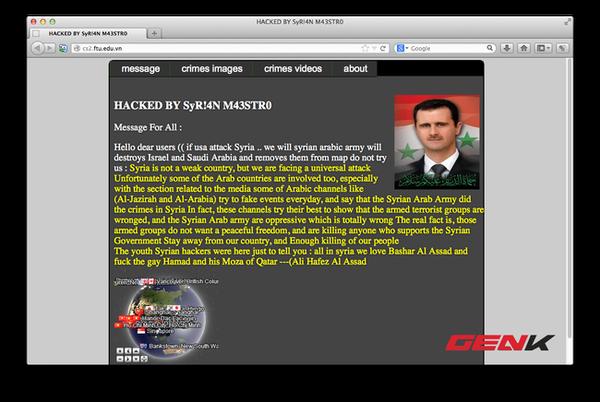 Website ĐH Ngoại Thương bất ngờ bị hacker Syria tấn công
