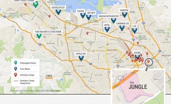 """Chỉ với vài lựa chọn khác, những người vô gia cư dịch chuyển xa hơn về phía nam thung lũng Silicon để đến với """"The Jungle"""" tại San Jose."""